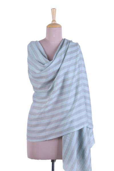 Cashmere shawl, 'Subtle Stripes' - Striped Cashmere Shawl in Smoke and Mint from India