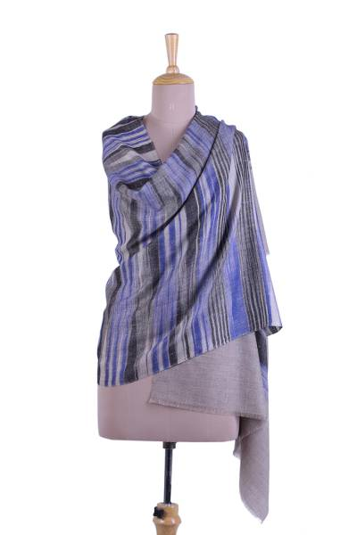 Cashmere shawl, 'Blue-Violet Muse' - Striped Cashmere Shawl in Blue-Violet from India