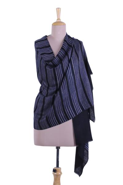 Cashmere shawl, 'Seductive Stripes' - Striped Cashmere Shawl in Midnight from India