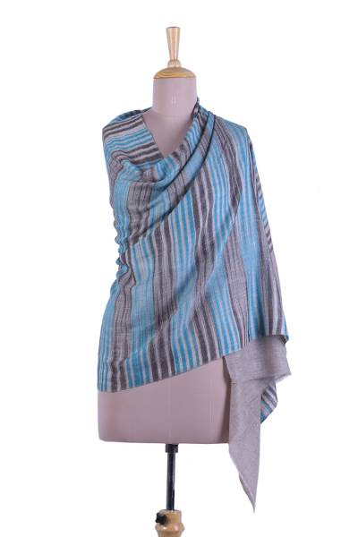 Cashmere shawl, 'Sky Lines' - Striped Cashmere Shawl in Teal from India