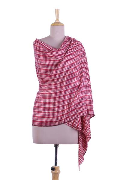 Cashmere shawl, 'Picnic Checks' - Checked Cashmere Shawl in Crimson and Linen from India