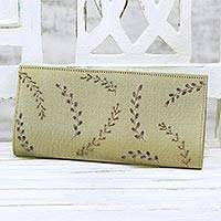 Beaded clutch, 'Leafy Evening' - Beaded Clutch Handbag in Sand from India