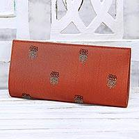 Embroidered clutch, 'Tangerine Glory' - Embroidered Floral Clutch Handbag in Tangerine from India