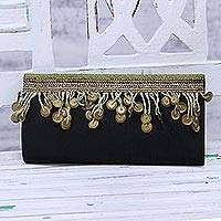 Glass beaded clutch, 'Evening Glamour' - Handmade Glass Beaded Clutch Handbag from India