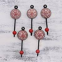 Ceramic coat hooks, 'Floral Muse in Red' (set of 5) - Five Floral Ceramic Coat Hooks in Red from India