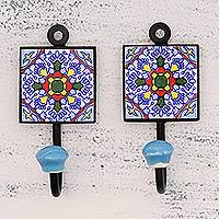 Ceramic coat hooks, 'Floral Kaleidoscope' (pair) - Two Floral Multicolored Ceramic Coat Hooks from India