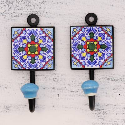 Ceramic coat hooks, Floral Kaleidoscope (pair)