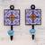 Ceramic coat hooks, 'Floral Kaleidoscope' (pair) - Two Floral Multicolored Ceramic Coat Hooks from India thumbail