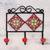 Ceramic coat rack, 'Red Garden' - Hand-Painted Floral Ceramic Coat Rack from India thumbail
