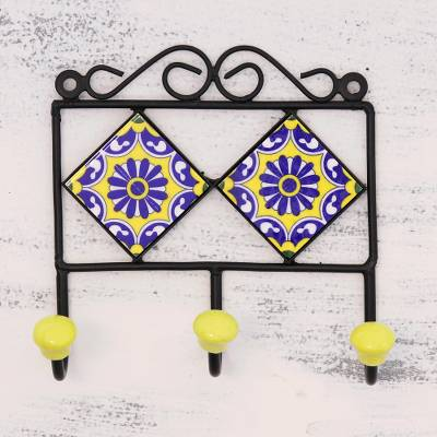 Ceramic coat rack, 'Royal Blossoms' - Painted Floral Ceramic Coat Rack in Yellow from India