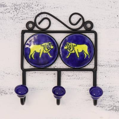 Ceramic coat rack, 'Lion's Roar' - Ceramic Coat Rack Painted with Lion Motifs from India