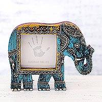 Wood photo frame, 'Holi Elephant in Blue' (4x4) - Blue Wood Elephant Photo Frame from India (4x4)