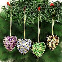 Papier mache ornaments, 'Heartfelt Holiday' - Four Heart Shaped Holiday Ornaments in Papier Mache