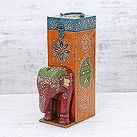Wood bottle holder, 'Festive Elephant' - Wood Bottle Holder Box with Elephant Theme