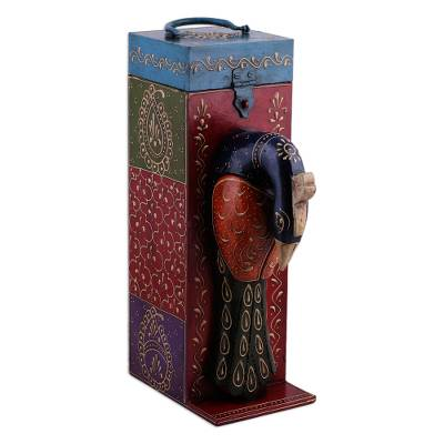 Peacock Themed Hand Painted Wood Bottle Holder Box