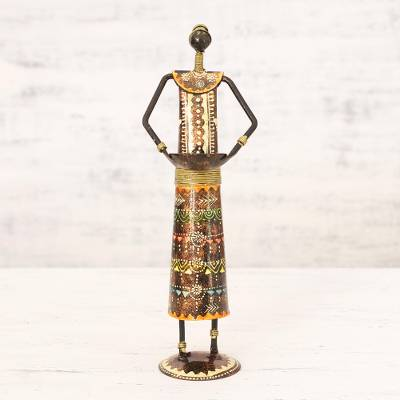Iron tealight candle holder, 'Offering of Light' - Hand Painted Rustic Iron Tealight Candle Holder from India