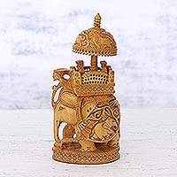 Wood sculpture, 'Majestic Procession' - Detailed Wood Sculpture of Elephant with Howdah