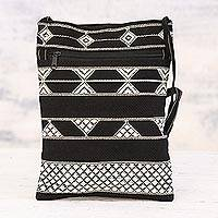 Cotton sling bag, 'Rajasthani Roads' - Hand Woven Black and White Cotton Sling Bag