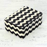 Decorative box, 'Zigzag Channels' - Black and White Zigzag Motif Decorative Box