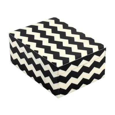 Black and White Zigzag Motif Decorative Box