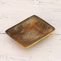Decorative horn catchall, 'Telangana Explorer' - Natural Horn and Brass Catchall from Indian Artisan