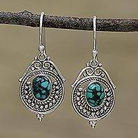 Sterling silver dangle earrings, 'Majestic Circles' - Sterling Silver and Composite Turquoise Earrings from India