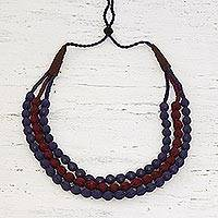 Multi-strand fabric wrapped beaded necklace, 'Purple Flair' - Indian Multi-strand Fabric Wrapped Beaded Necklace in Purple