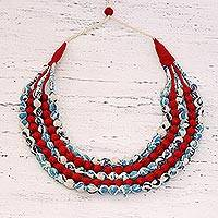 Multi-strand fabric wrapped beaded necklace, 'Flashes of Red' - Multi-strand Fabric Wrapped Beaded Necklace from India