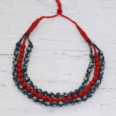 Beaded multi-strand necklace, 'Heavenly Bond' - Recycled Fabric Bead Necklace in Red and Blue