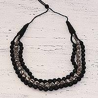 Beaded multi-strand necklace, 'Dark Storm' - Black and Grey Bead Necklace with Recycled Fabric