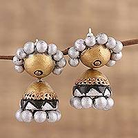 Ceramic dangle earrings, 'Precious Allure' - Silver and Gold-Tone Ceramic Dangle Earrings from India