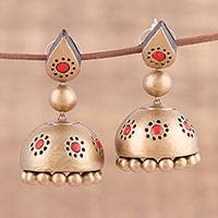 Ceramic dangle earrings, 'Charming Gold' - Handmade Gold-Tone Ceramic Dangle Earrings from India