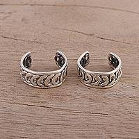Sterling silver toe rings, 'Curvy Swirls' - Swirling Sterling Silver Toe Rings from India