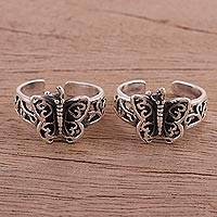 Sterling silver toe rings, 'Butterfly Twins' - Butterfly Openwork Sterling Silver Toe Rings (Pair)