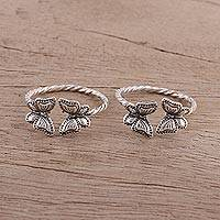 Sterling silver toe rings, 'Butterfly Meeting' - Twisted Toe Rings with Butterfly Accents from India (Pair)