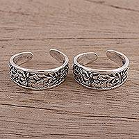 Sterling silver toe rings, 'Jali Flower' (pair) - Sterling Silver Toe Rings with Floral Motifs (Pair)