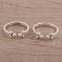 Sterling silver toe rings, 'Rawa Trio' - Polished Sterling Silver Toe Rings from India (Pair)