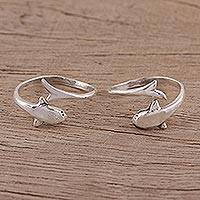 Sterling silver toe rings, 'Dolphin Delight' - Sterling Silver Dolphin Motif Toe Rings (Pair)
