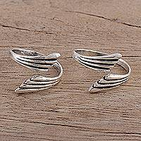 Sterling silver toe rings, 'Flight of Fancy' (pair) - Wing-Shaped Sterling Silver Toe Rings (Pair)