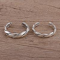 Sterling silver toe rings, 'Simple Braid' (pair) - Braided Sterling Silver Toes Rings from India (Pair)