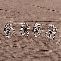 Sterling silver toe rings, 'Pinwheel Flower' (pair) - Women's Flower Design Sterling Silver Toe Rings (Pair)