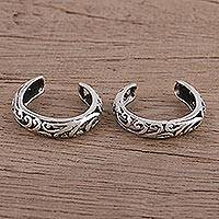 Sterling silver toe rings, 'Jali Jive' (pair) - Jali Motif Sterling Silver 925 Toe Rings (Pair)