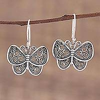 Sterling silver dangle earrings, 'Darling Butterflies' - Ornate Sterling Silver Butterfly Dangle Earrings