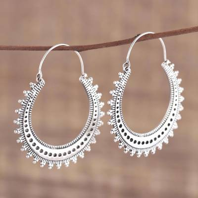 Sterling silver hoop earrings, 'Majestic Sunshine' - Pretty Indian Style Sterling Silver Hoop Earrings