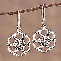 Sterling silver dangle earrings, 'Floral Om' - Sterling Silver Floral Om Symbol Dangle Earrings