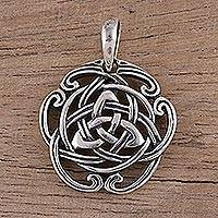 Sterling silver pendant, 'Celtic Reverie' - Celtic Knot Sterling Silver Pendant from India Artisan