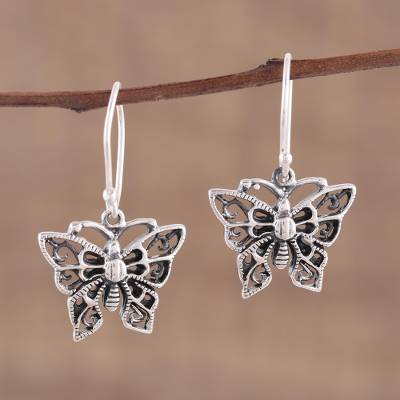 Sterling silver dangle earrings, 'Jali Butterfly' - Delicate Sterling Silver Butterfly Dangle Earrings