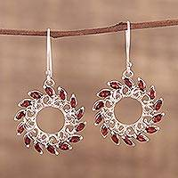 Garnet dangle earrings, 'Water Wheels' - Garnet Dangle Earrings from India