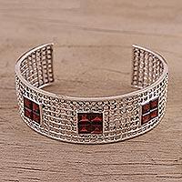 Garnet cuff bracelet, 'Shining Mesh' (India)