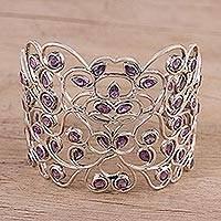 Amethyst cuff bracelet, 'Enticing Royalty' - Vine Motif Amethyst Bracelet from India